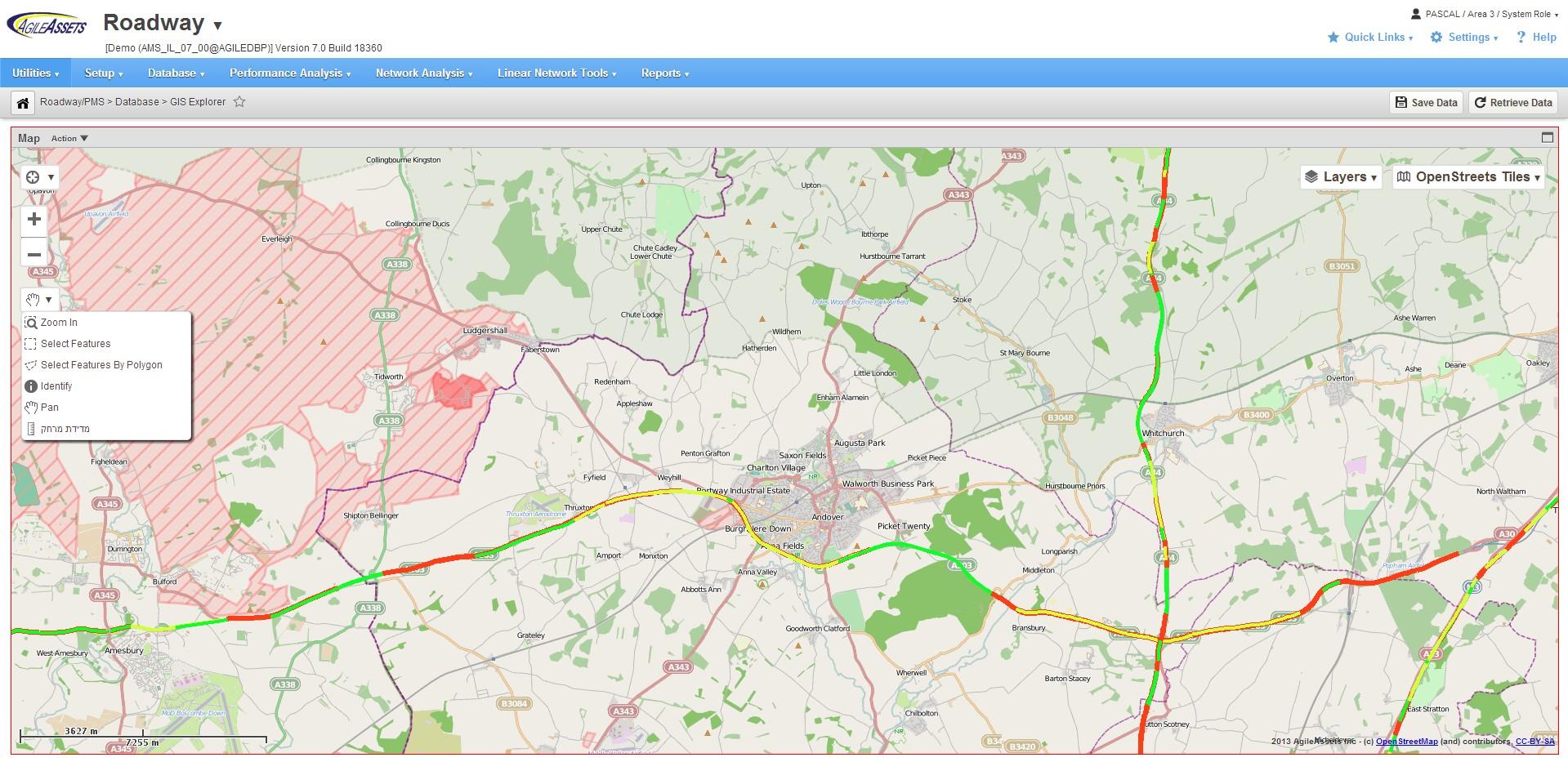 AgileAssets Software - Roadway map