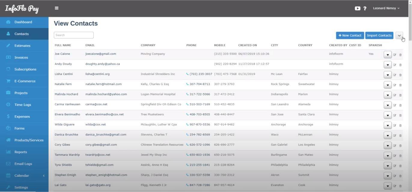 InfoFlo Print Software - Print Shop Management contacts management