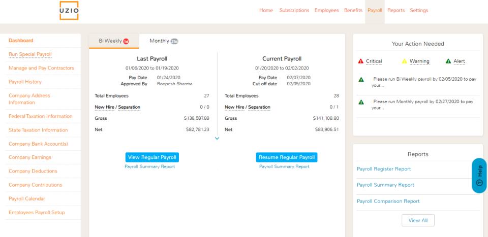 UZIO payroll dashboard
