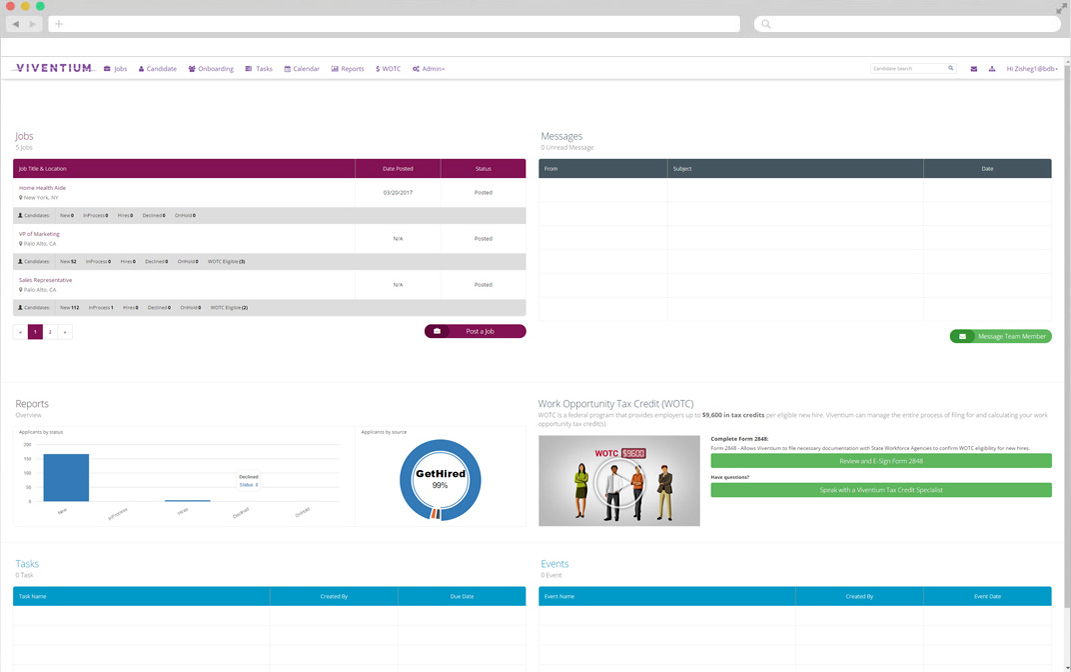 Monitor the selection process and generate hiring reports