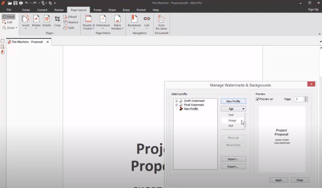 Nitro add watermarks to documents