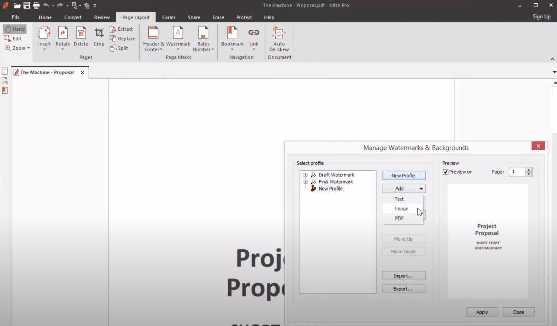 Nitro Software - Nitro add watermarks to documents
