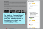 Grade.us screenshot: Add an embedded widget or WordPress plugin to your website to stream all of your best reviews from Google, Yelp, Facebook and industry specific review sites.