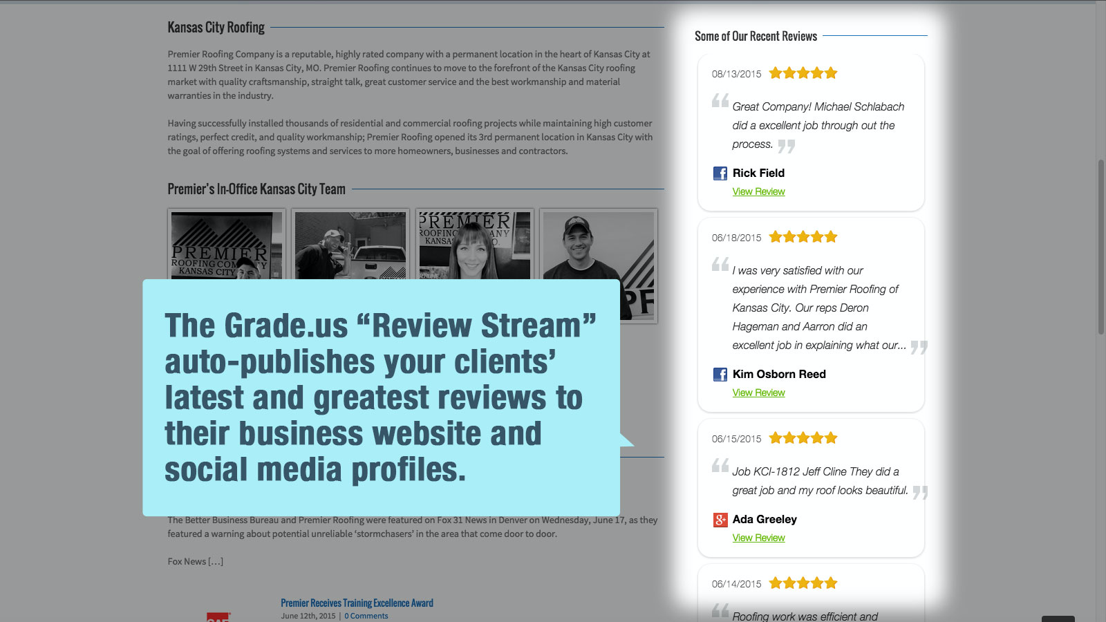 Add an embedded widget or WordPress plugin to your website to stream all of your best reviews from Google, Yelp, Facebook and industry specific review sites.