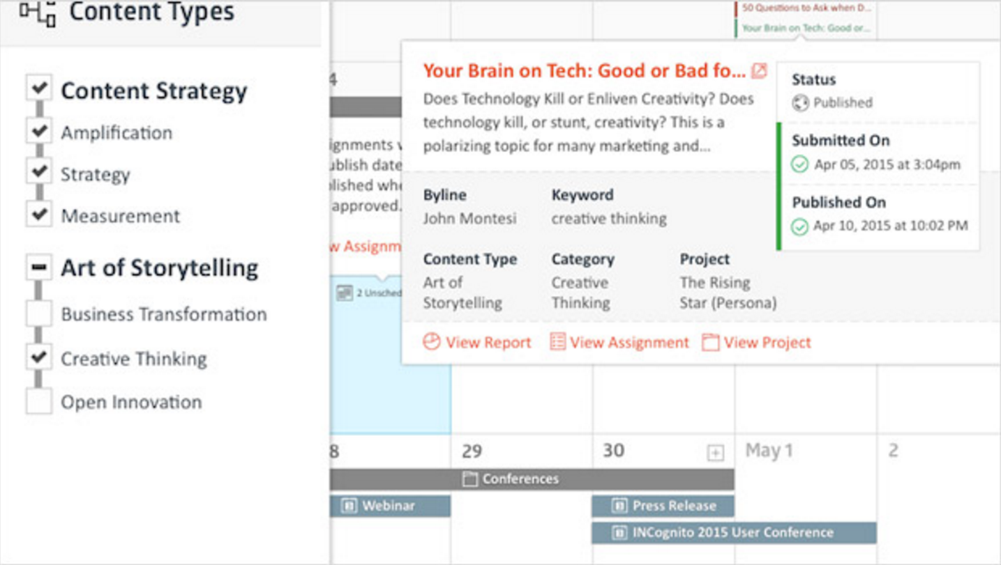 The Skyword Marketing Calendar is built to align your strategy with the rest of marketing, and provide other teams across your organization visibility into your content marketing game plan.
