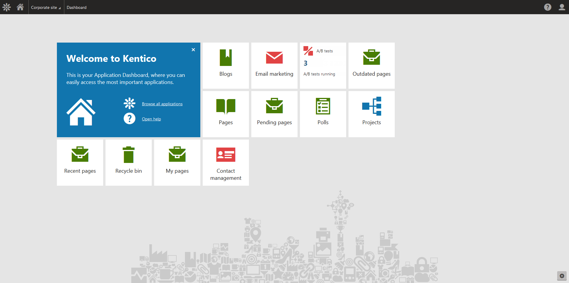 Users can customize the welcome page of Xperience's dashboard to show only what they need