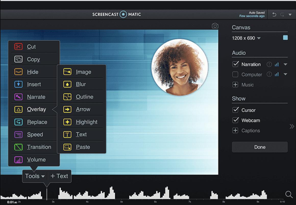 Screencast-O-Matic editing tools
