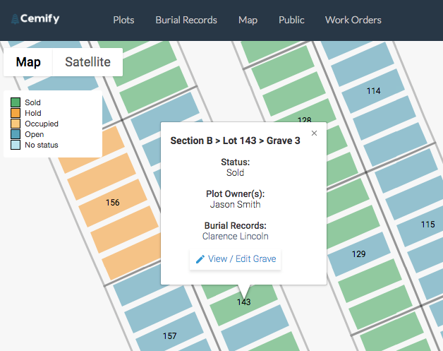 Plots can be color-coded on the interactive map based on their status