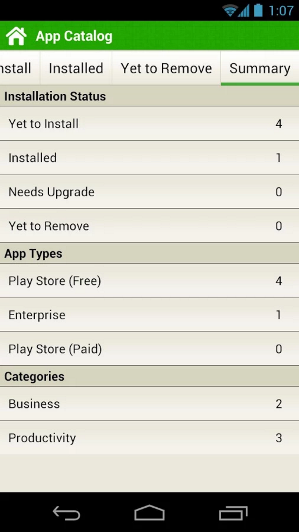 Summary of the App Catalog - the number of apps installed, categories and so on.