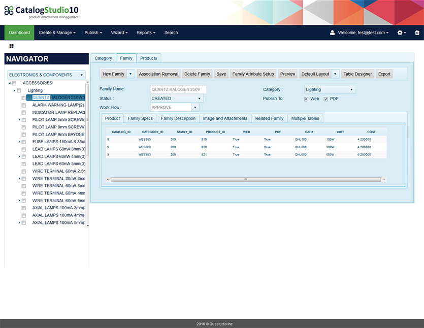 MarketStudio screenshot: The navigator panel facilitates a hierarchical tree-based explorer for drilling down into product categories and families, revealing a host of management options