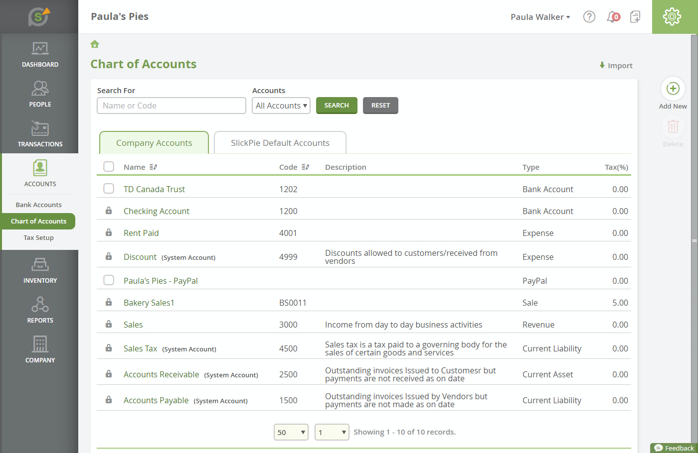 Users can view detailed accounting statements with SlickPie