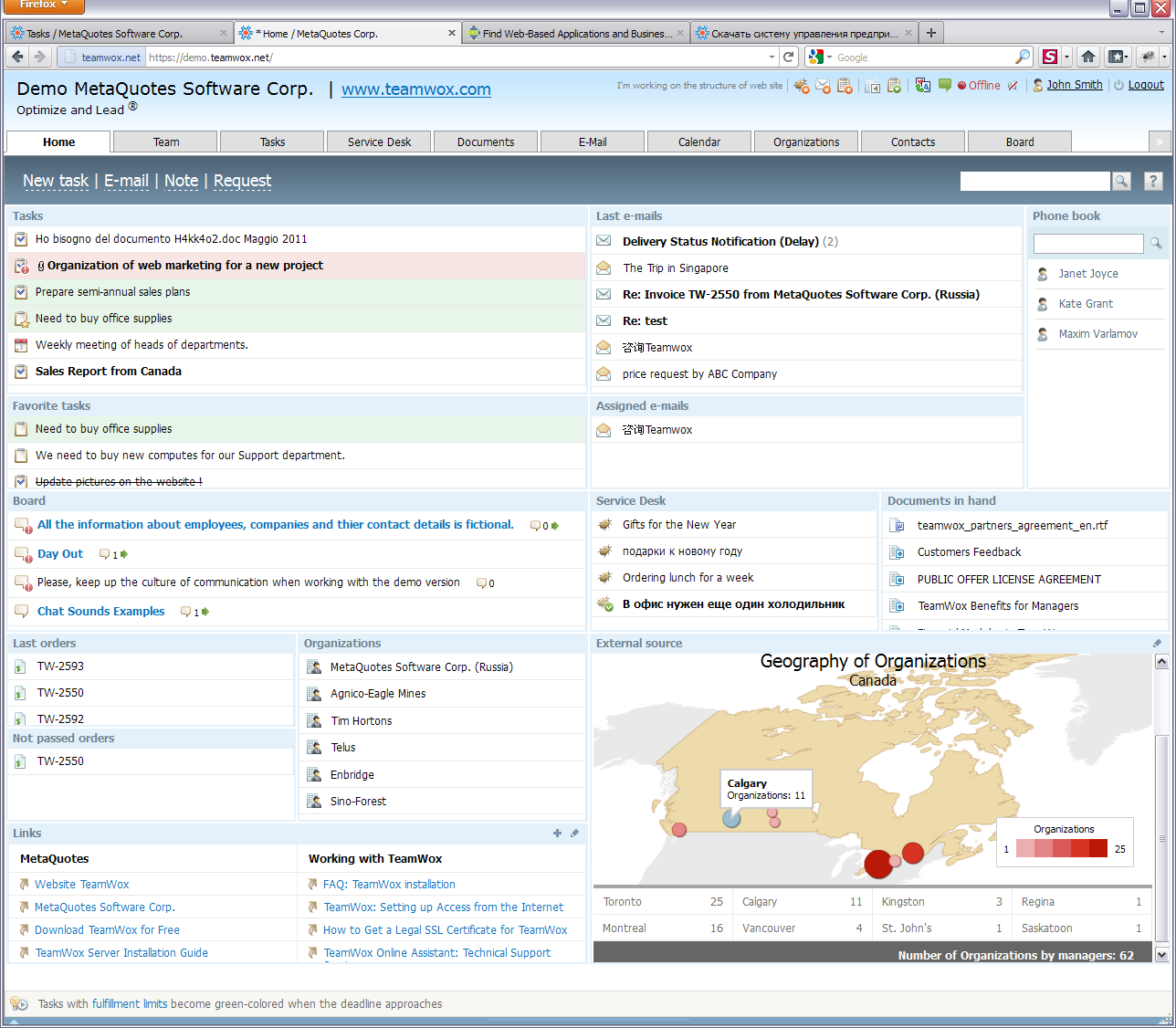 Home Page of the collaboration software