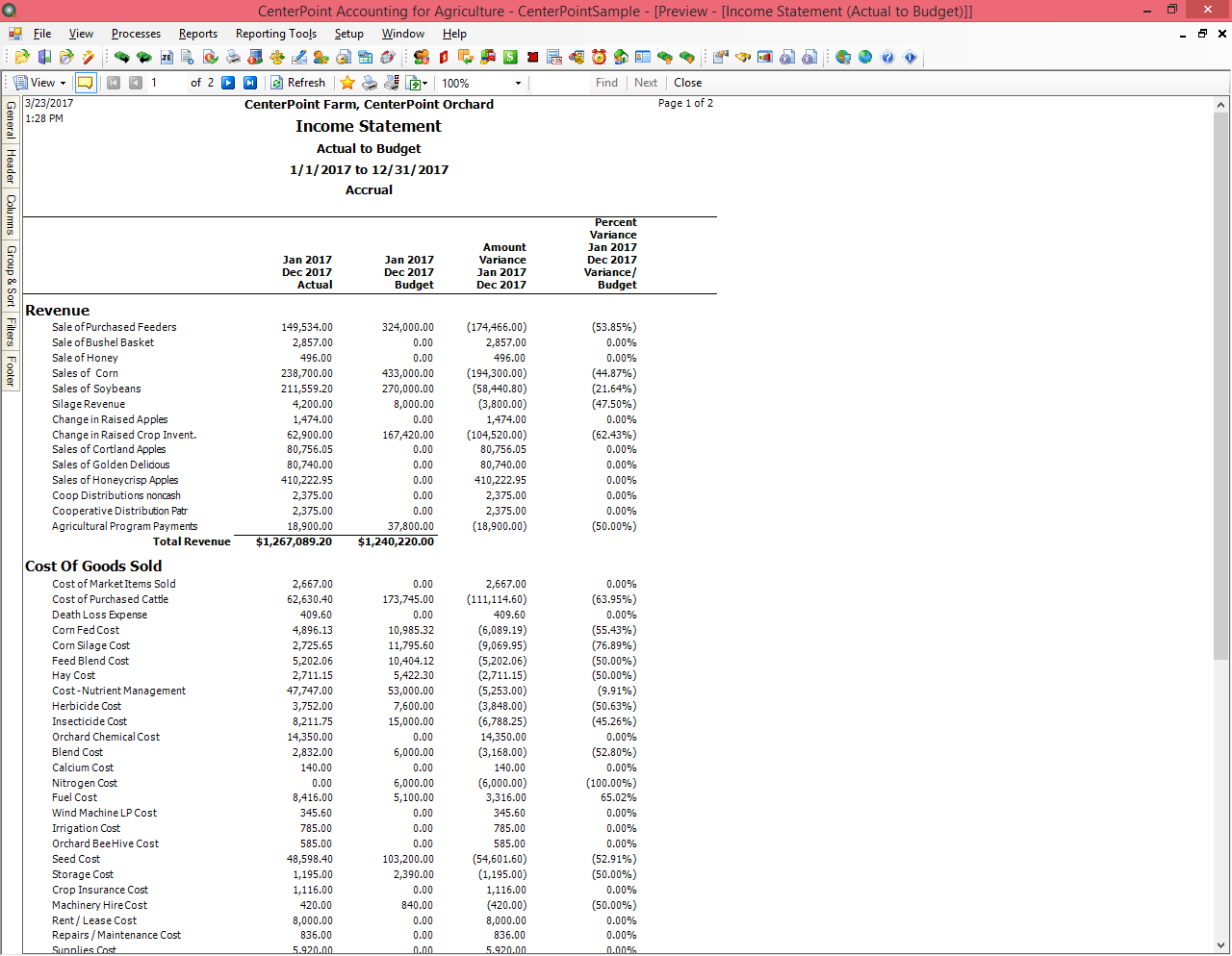 Actual to Budget Income Statement