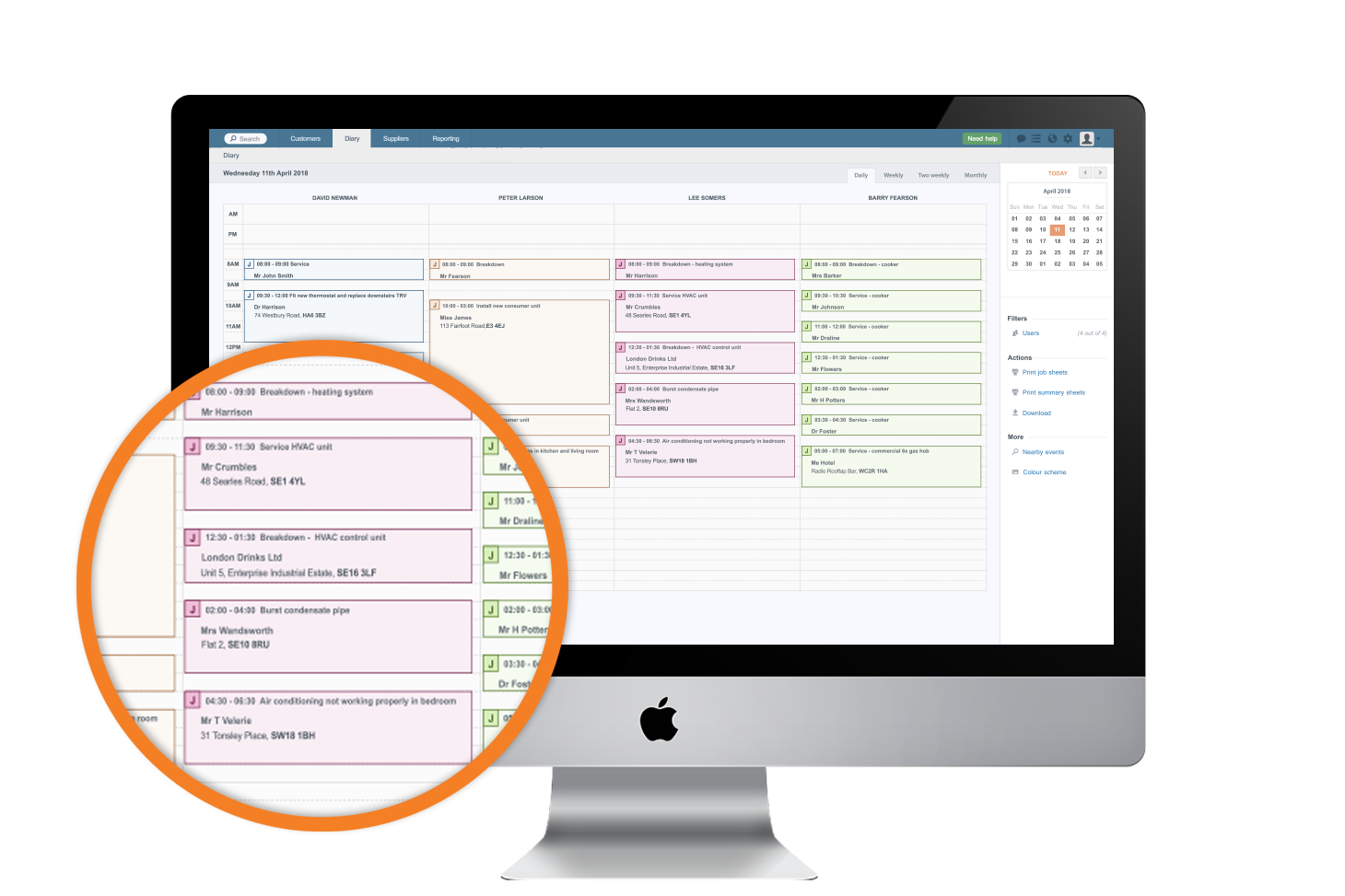 Manage your schedule with an intuitive drag and drop diary.