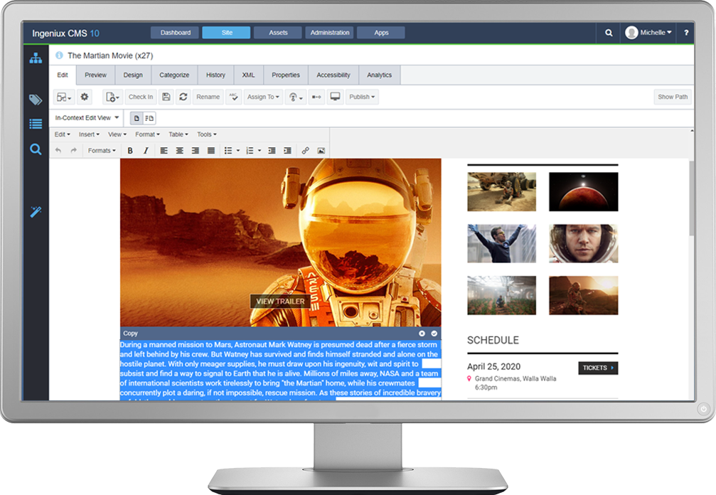 Easily edit content in your browser in one of two ways. In-Context Editing allows you to edit directly in the preview of your web page. The forms-based editing option provides a Microsoft Word-like editing experience with full metadata for SEO and reuse.