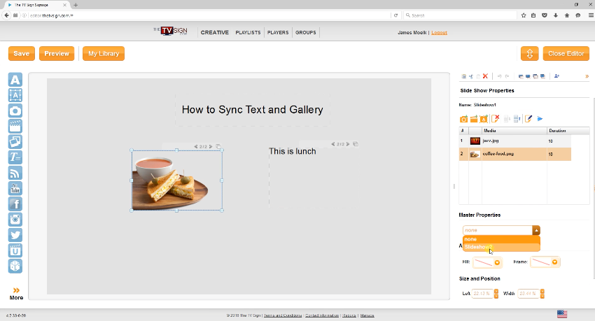 Text and gallery images can be synchonized on displays