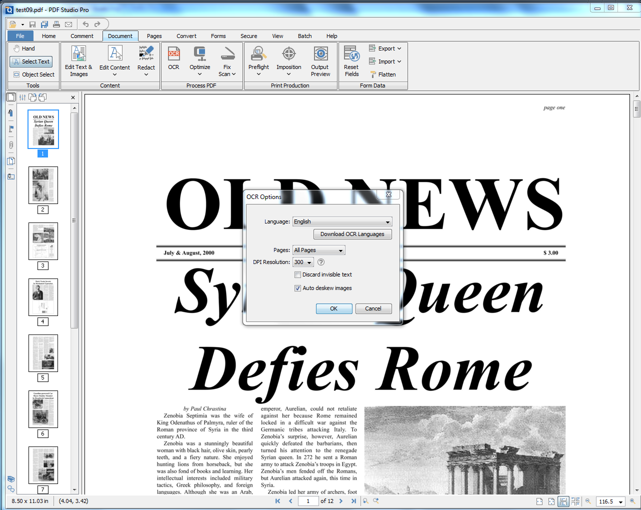 PDF Studio - OCR options