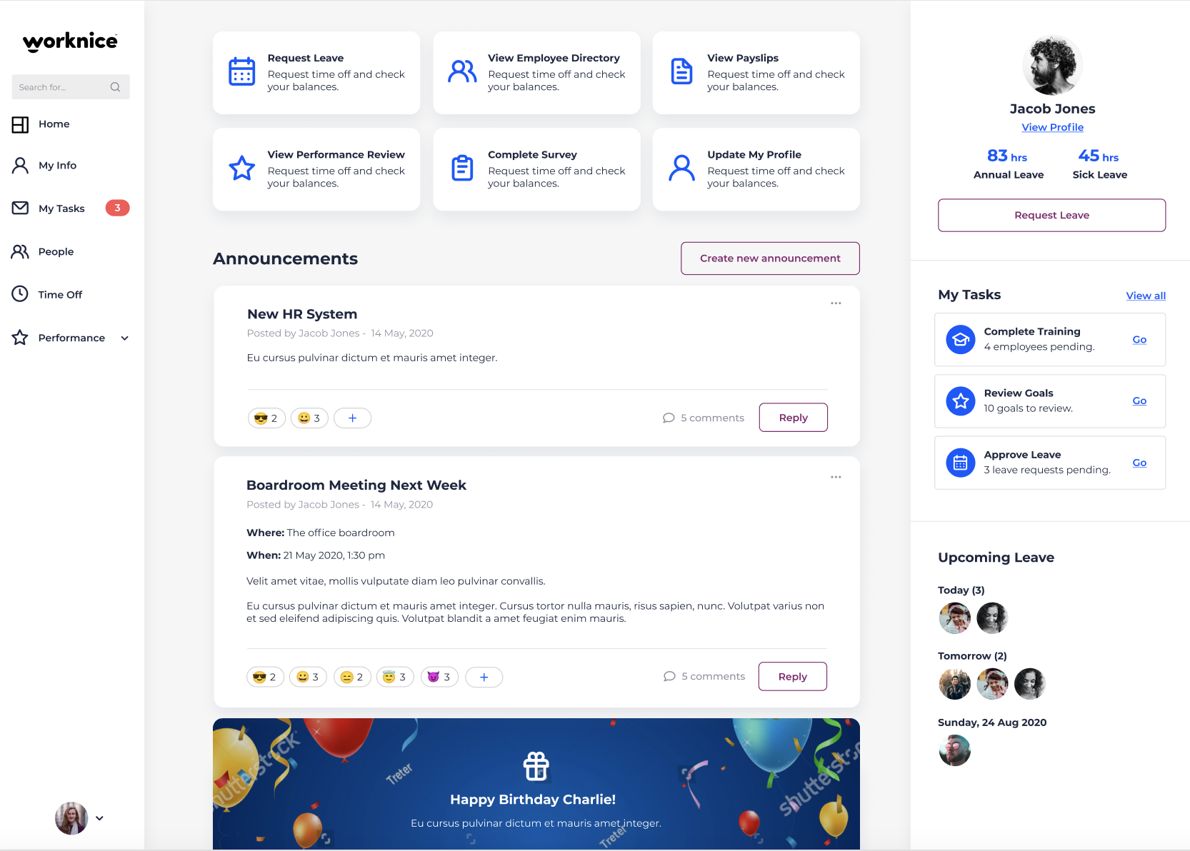 Worknice announcements