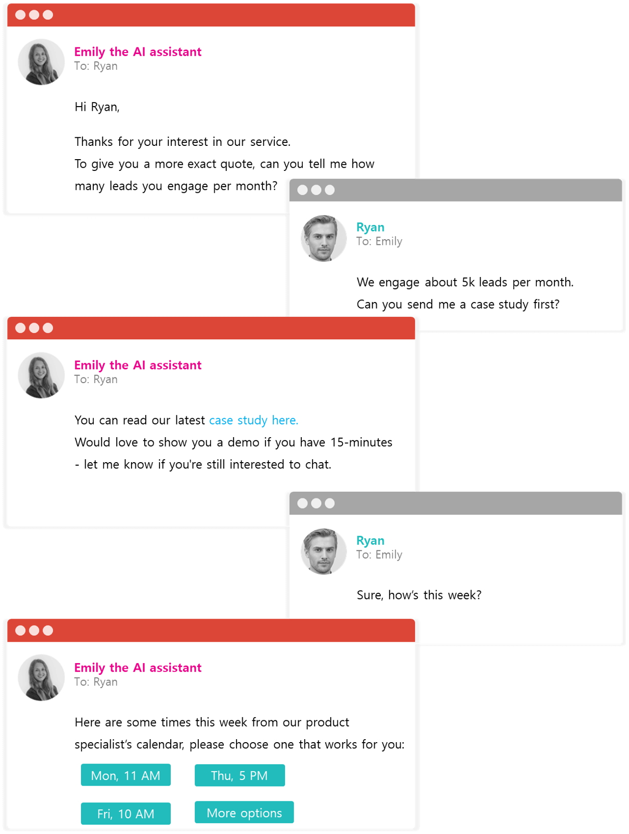 Help leads make the right decision with AI powered answers over email and chat