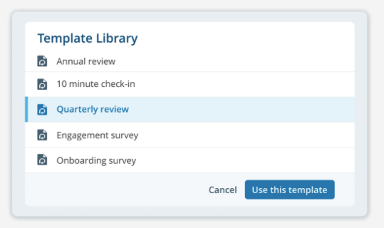 Launch engagement and feedback surveys using a ready-made template