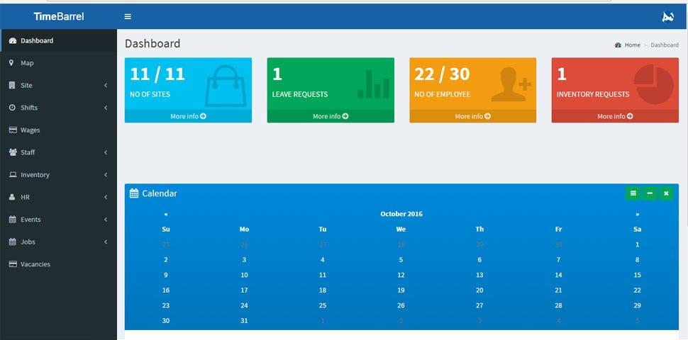 Time Barrel Software - Dashboard