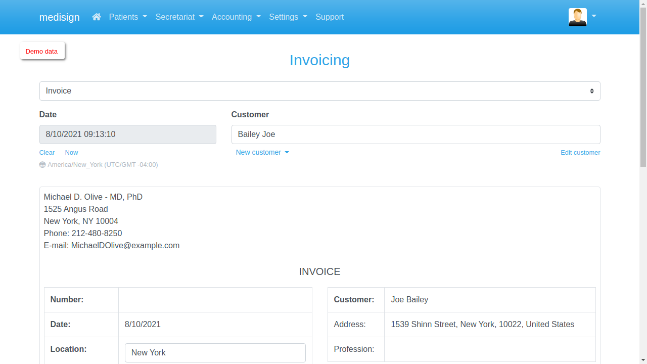 MediSign - Create an Invoice