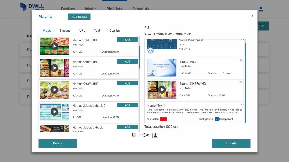 DWALL.online media playlist screenshot