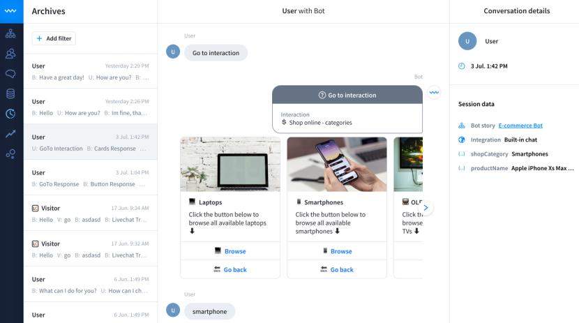ChatBot conversation archives