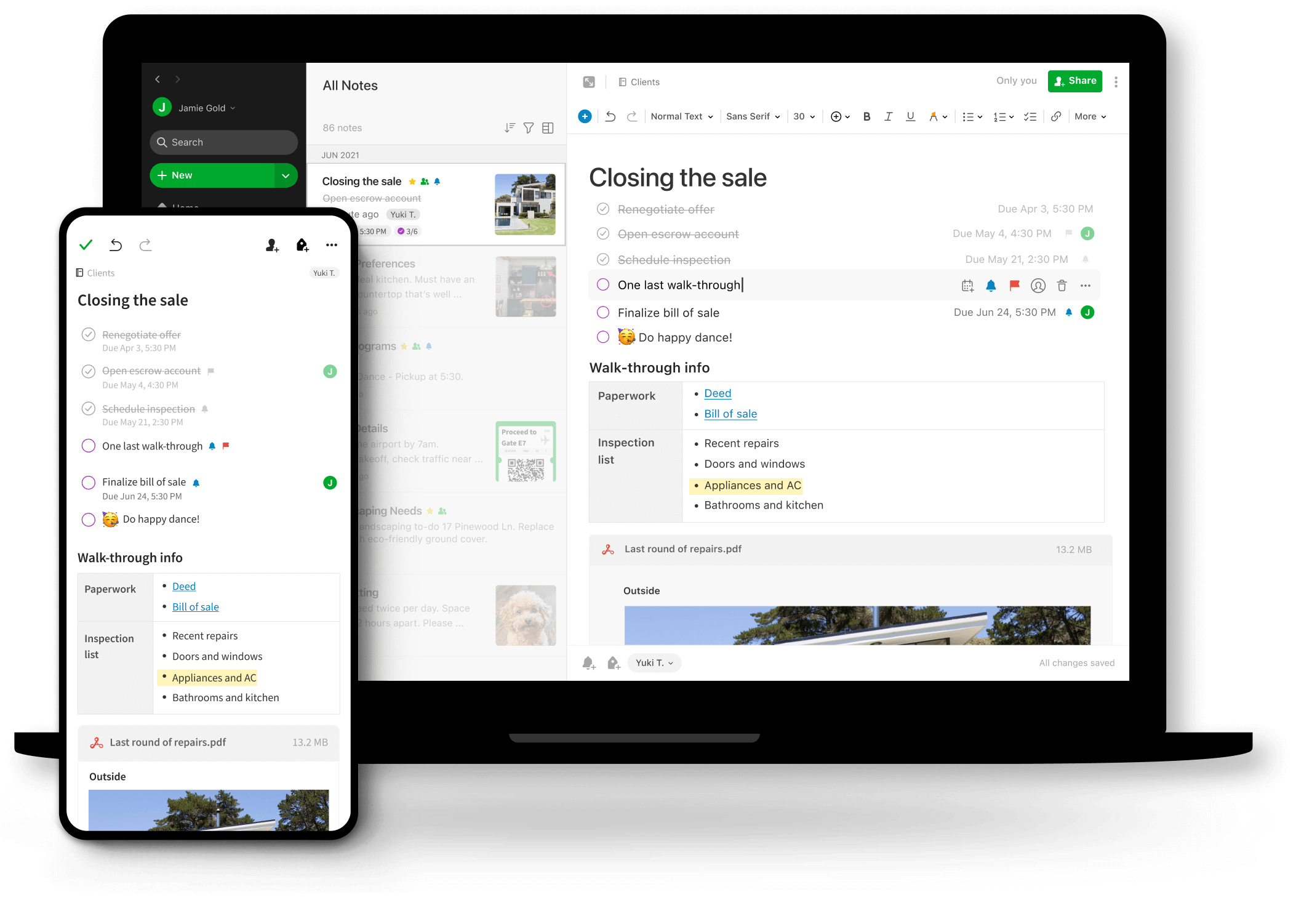 Evernote Teams Software - Sharing between mobile and desktop.