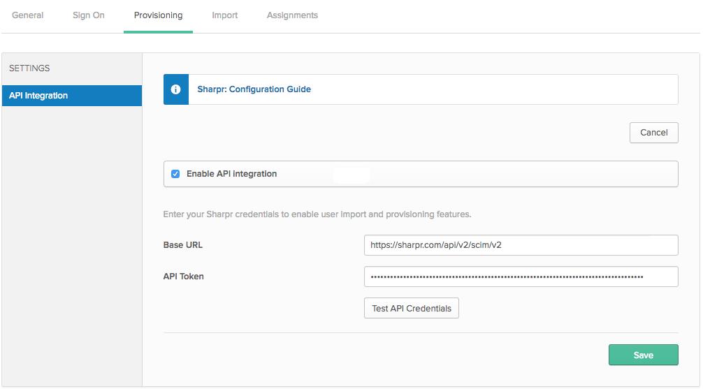 Sharpr API provisioning