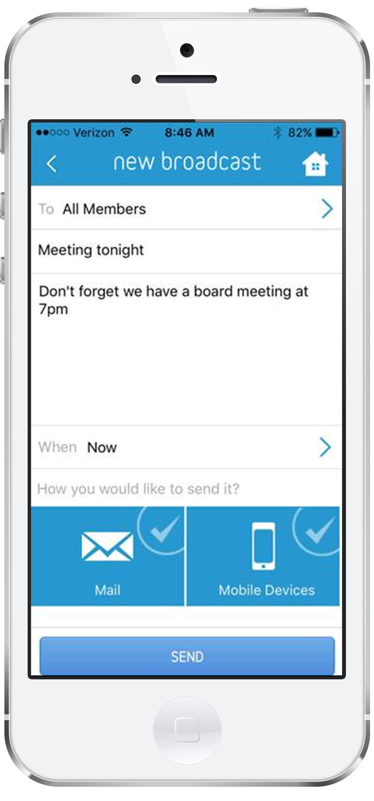 memberplanet allows admins to create & send broadcasts by email or SMS message