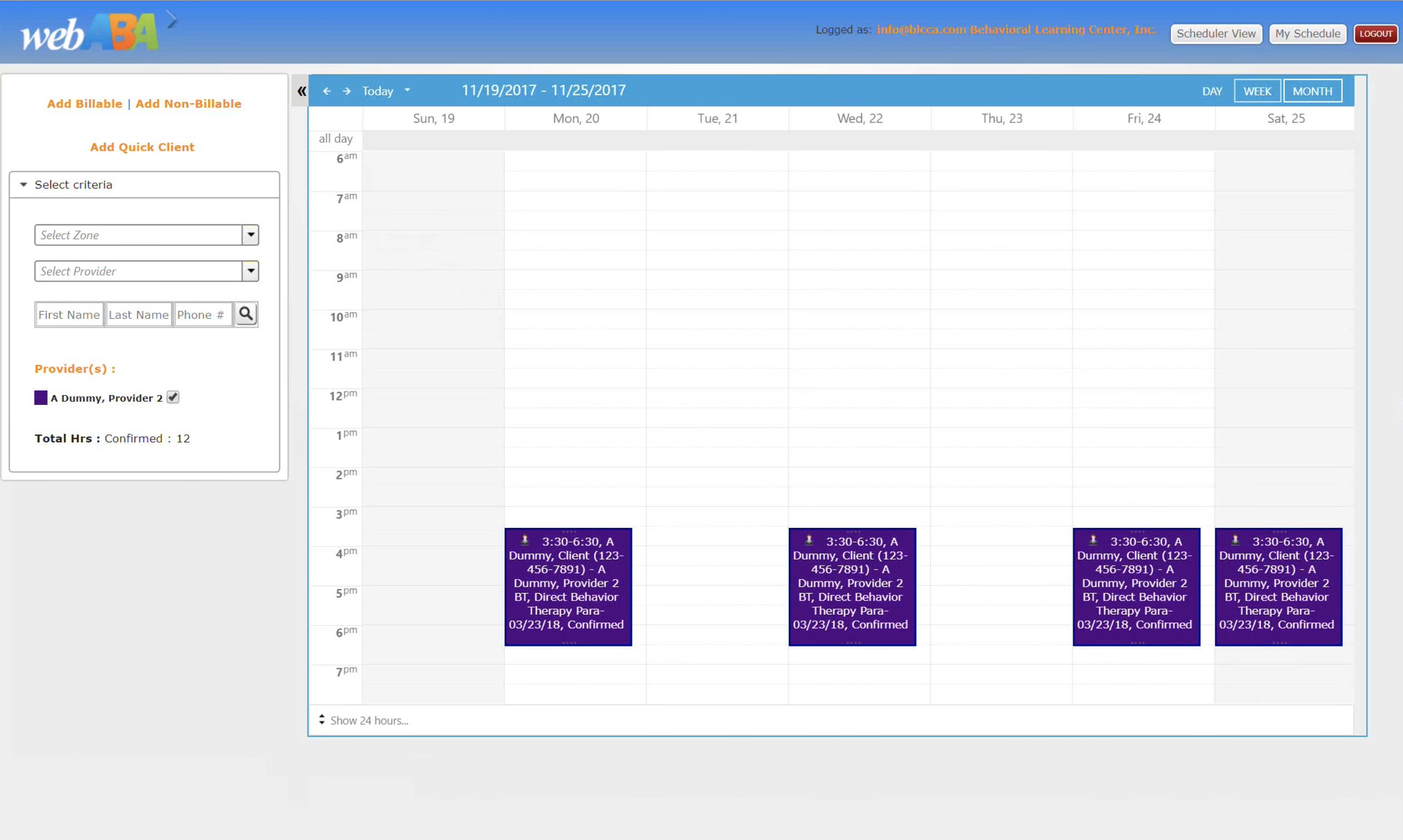 WebABA Calendar