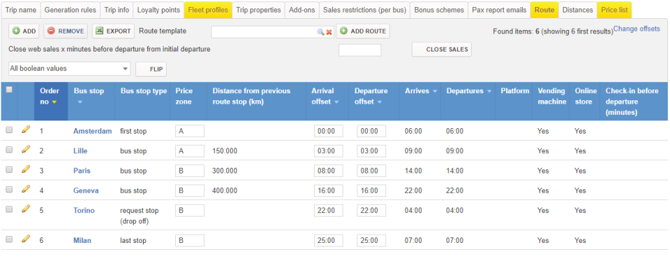 Edit fleet profiles, including arrival and departure offset times