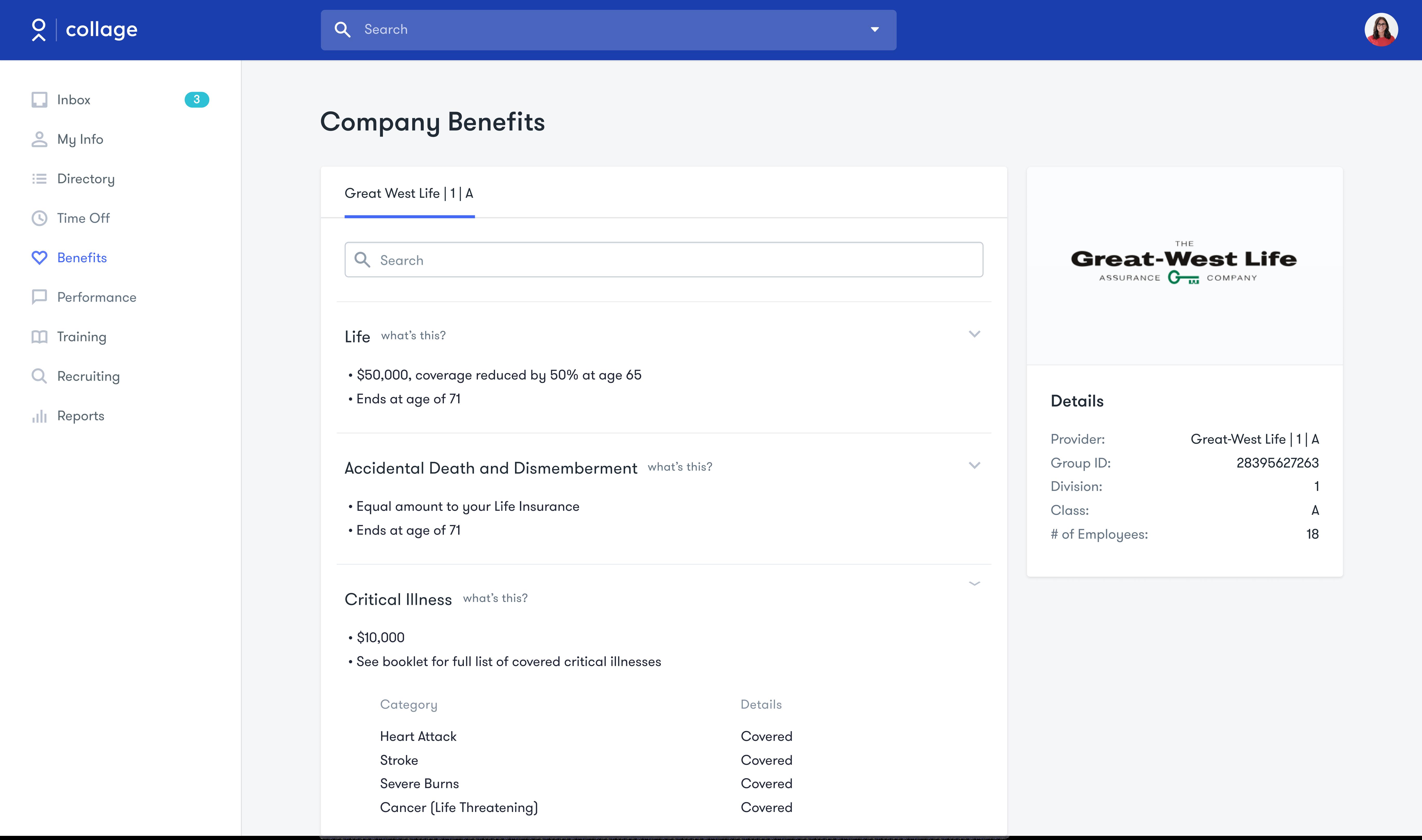 Collage HR Software - Benefits Summary