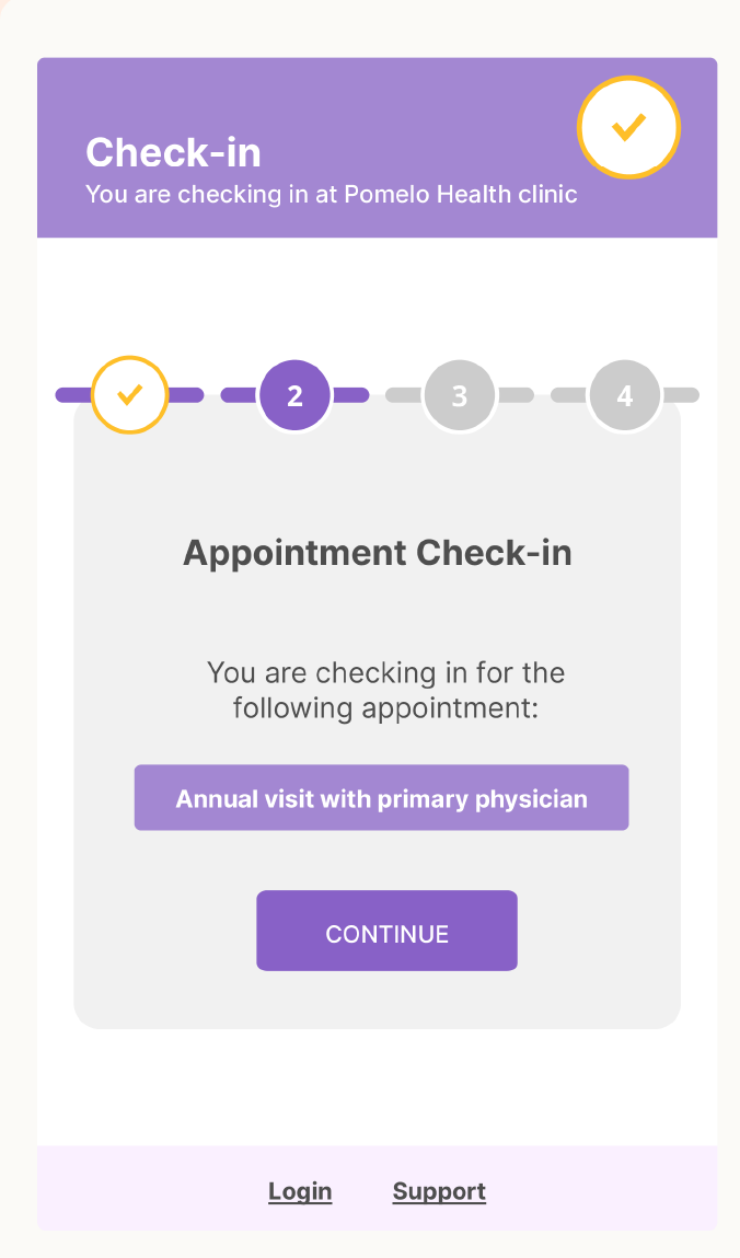 Pomelo Health appointment check-in