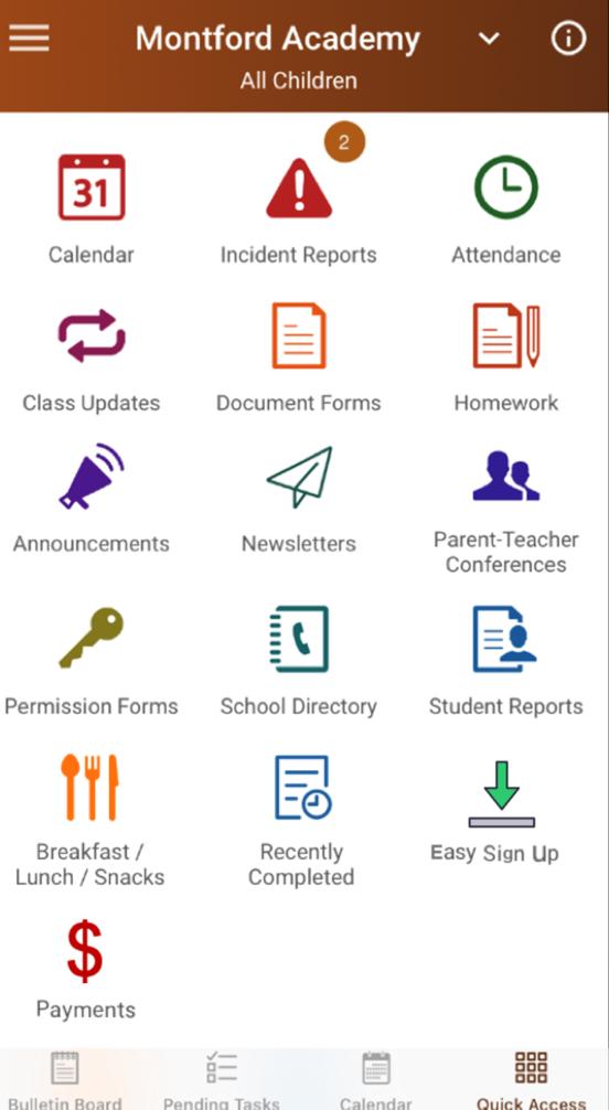 SchoolCues quick access