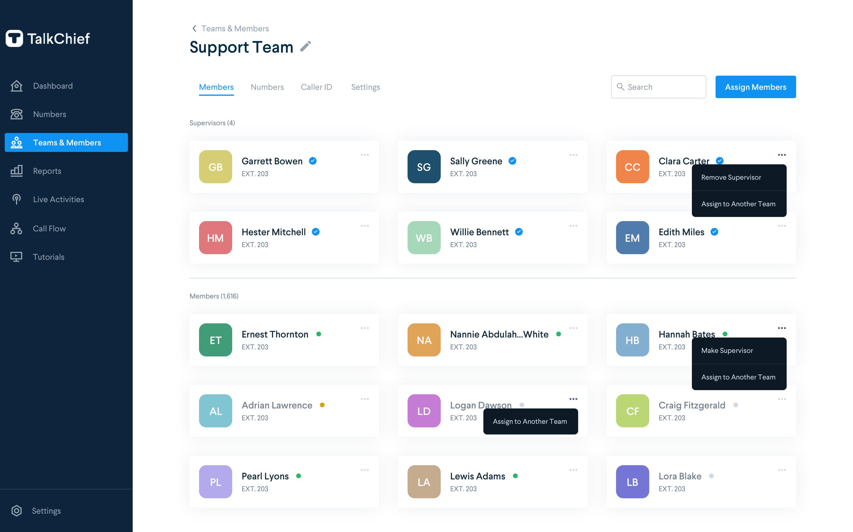TalkChief Software - Team management