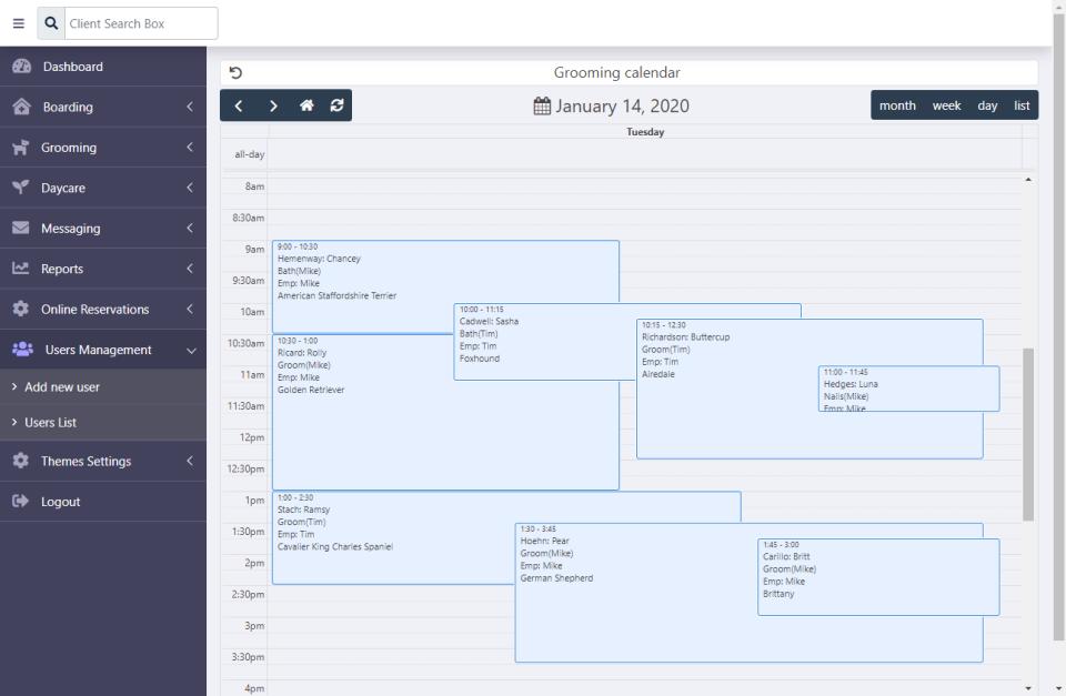 Kennel Connection calendar