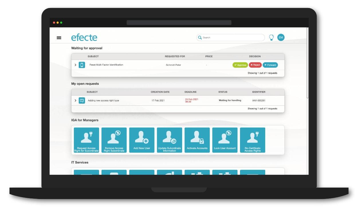 Efecte IAM screenshot: Efecte IAM self-service portal