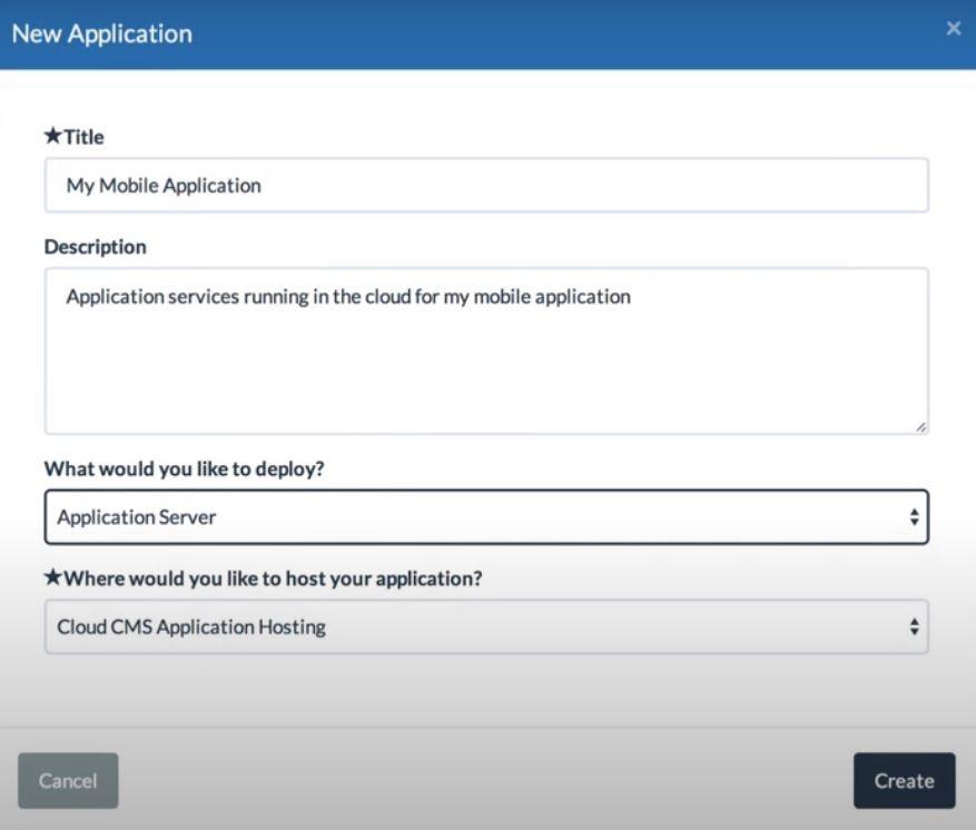 Cloud CMS new application