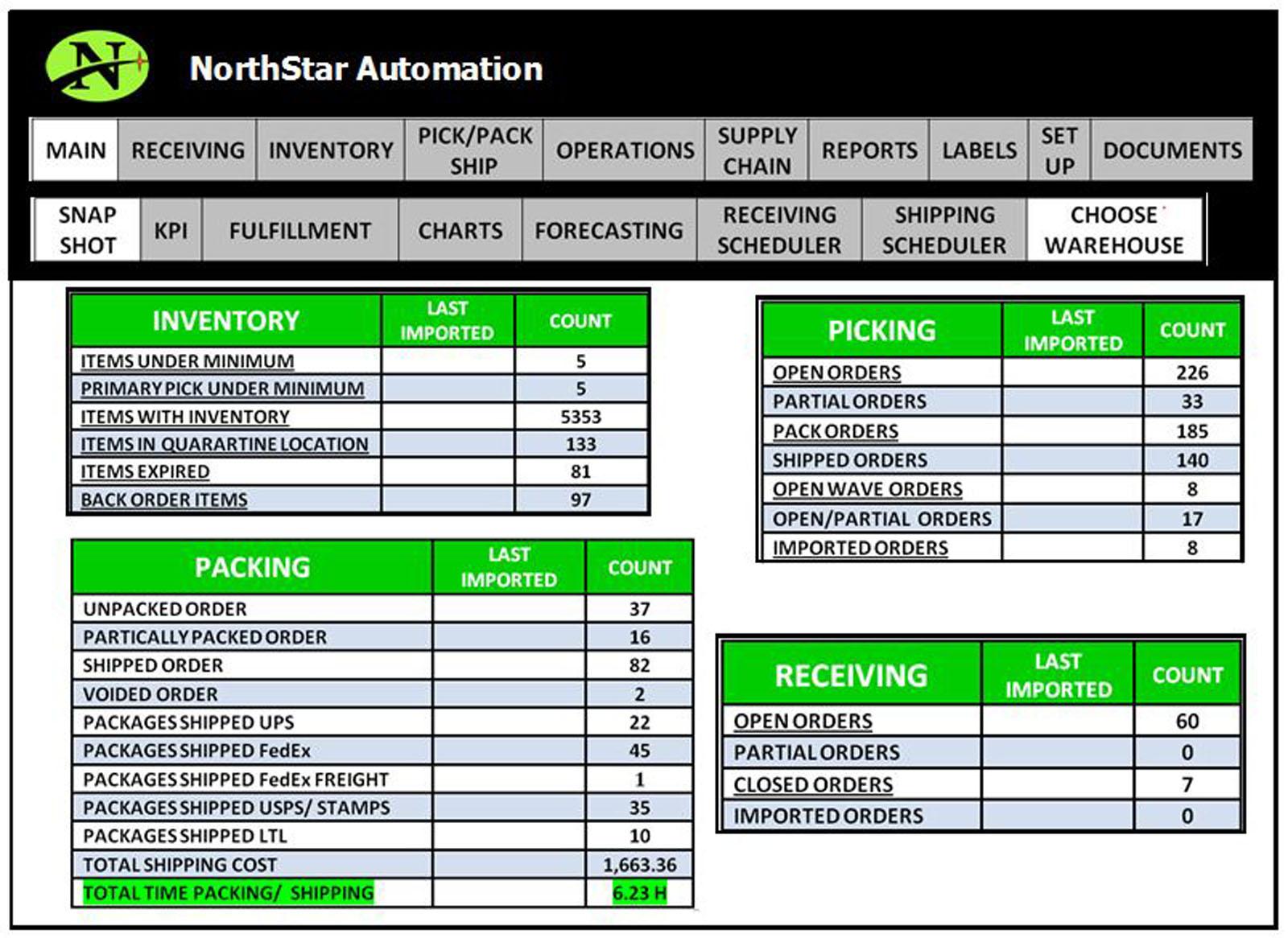 NorthStar WMS Software - Snapshot