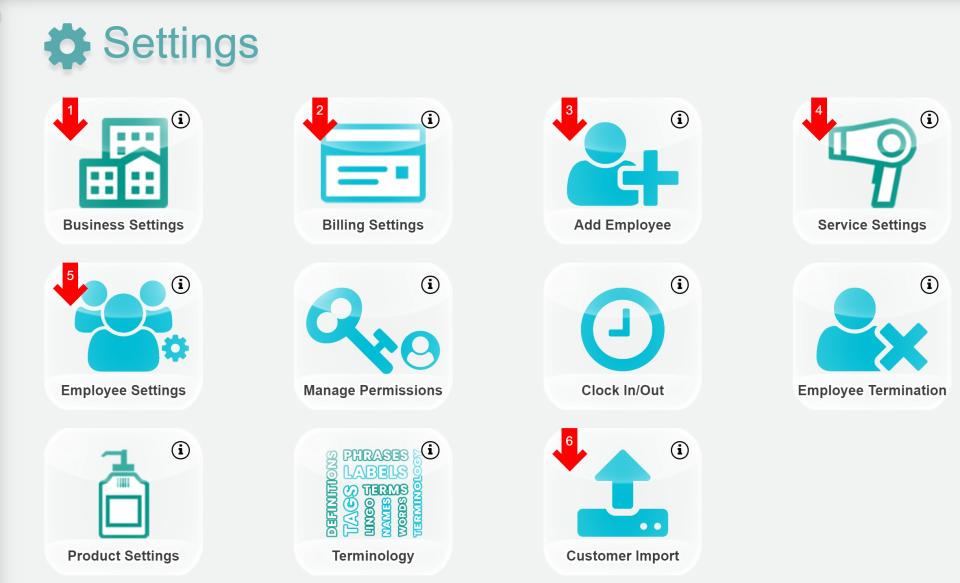 EZsalonware settings screen