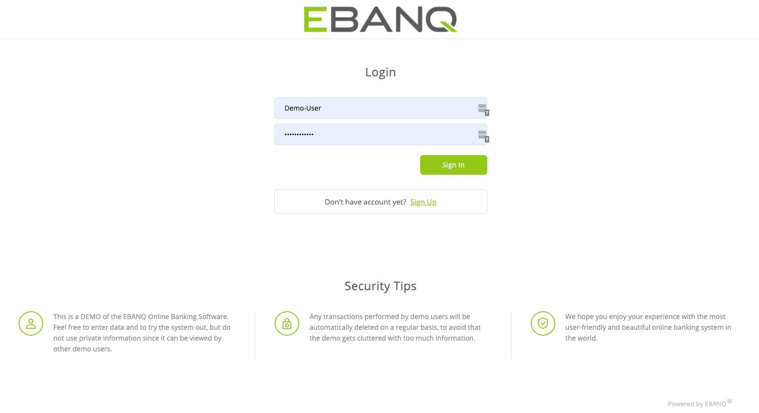 EBANQ Software - EBANQ login