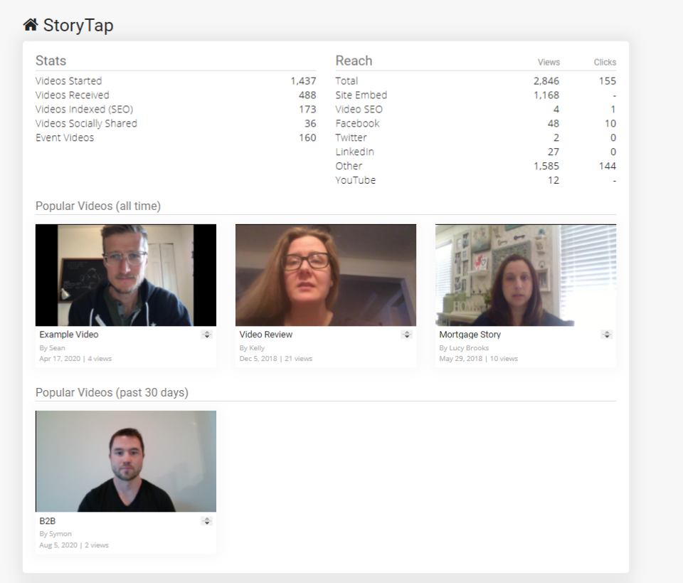 StoryTap Software - StoryTap home and statistics