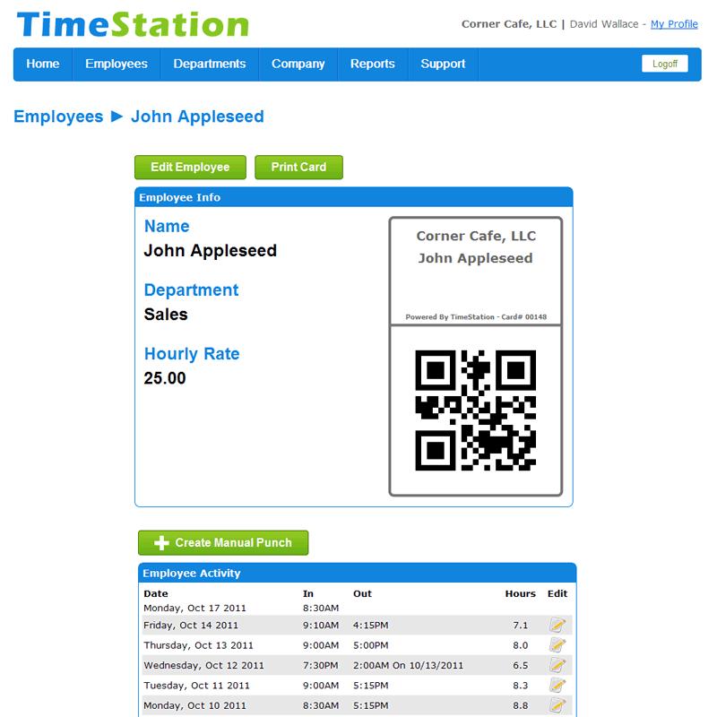 TimeStation employee cards