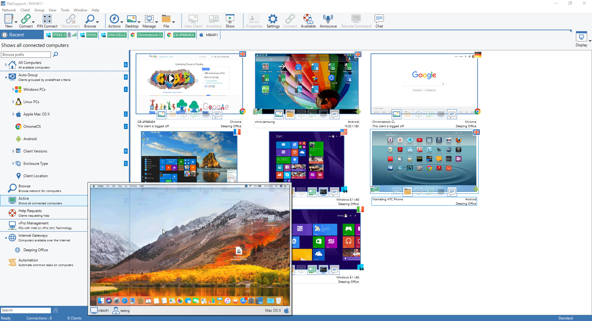 NetSupport Manager Thumbnail View - Mouse over a selected PC to zoom your view.