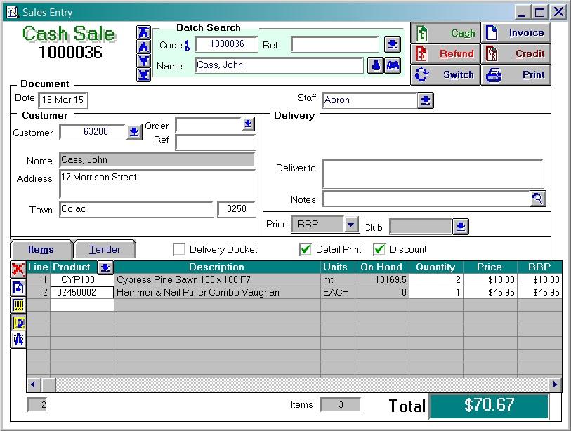 Acumen Software - Cash Sale Screen