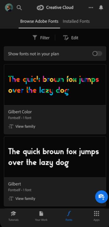 Adobe Creative Cloud Software - Adobe Creative Cloud browse fonts