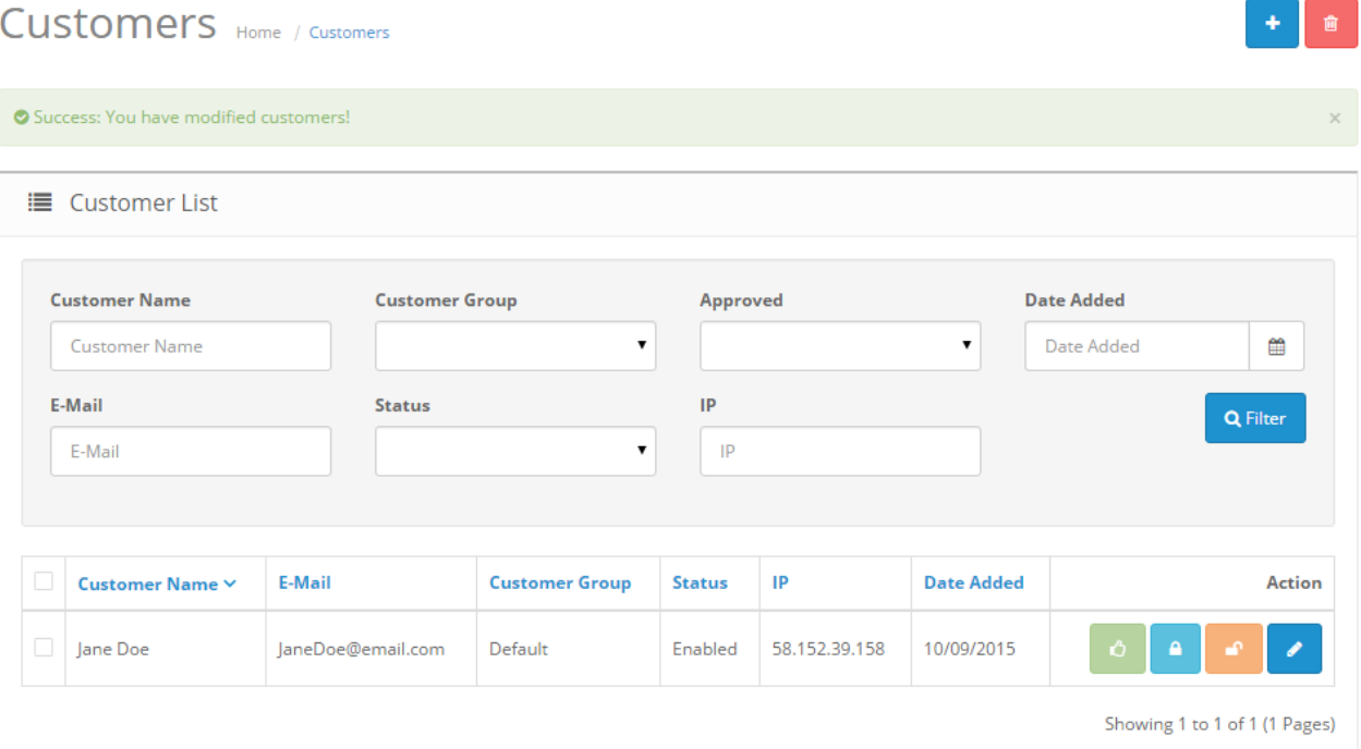 OpenCart customers list