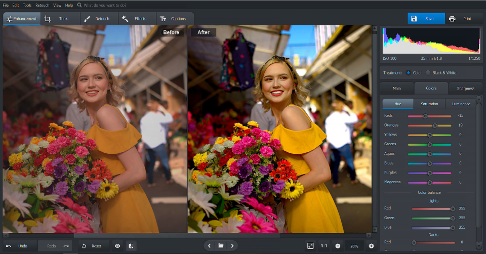 PhotoWorks screenshot: PhotoWorks color enhancements